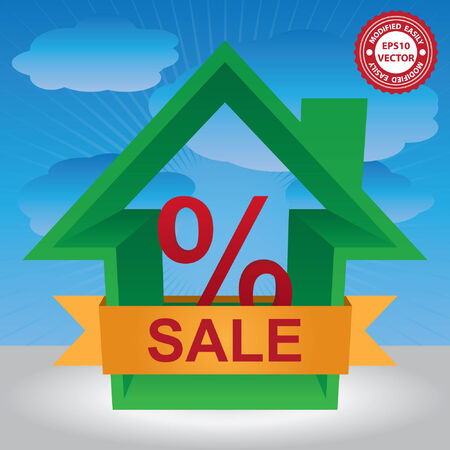 percentage sign: Vector : Graphic For Real Estate Business Present By Green 3D House With Percentage Sign Inside and Yellow Sale Ribbon in Blue Sky Background Illustration