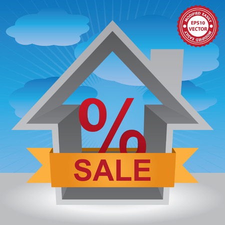 percentage sign: Vector : Graphic For Real Estate Business Present By Gray 3D House With Percentage Sign Inside and Yellow Sale Ribbon in Blue Sky Background