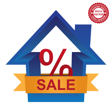percentage sign: Vector : Graphic For Real Estate Business Present By Blue 3D House With Percentage Sign Inside and Yellow Sale Ribbon Illustration