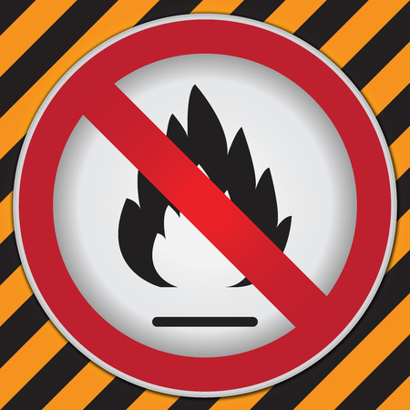 firealarm: No Flammable or Non Burnable Prohibited Sign in Caution Zone Dark and Yellow Background