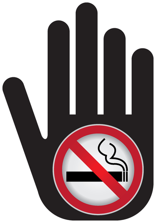 killing cancer: No Smoking Are Not Allowed Prohibited Sign Present By Hand With No Smoking in This Area Sign Inside Isolated on White Background