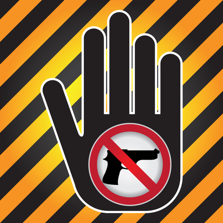 Stop Violence Or No Gun Prohibited Sign Present By Hand With No Gun Sign in Caution Zone Dark and Yellow Background photo