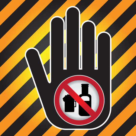 No Alcohol Prohibited Sign Present By Hand With No Beer Sign Inside in Caution Zone Dark and Yellow Background photo