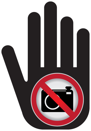 no cameras allowed: No Photo or No Camera Prohibited Sign Present By Hand With No Camera Sign Inside Isolated on White Background