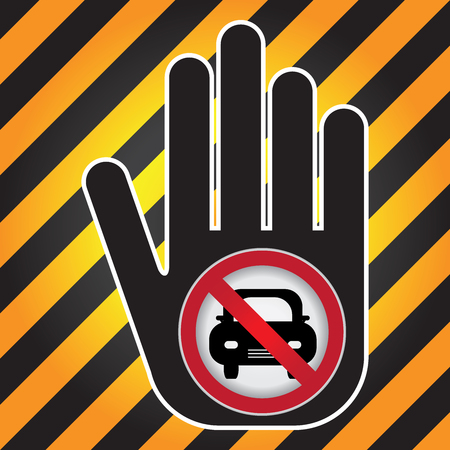 entry: No Car Prohibited Sign Present By Hand With No Car Sign Inside in Caution Zone Dark and Yellow Background Stock Photo