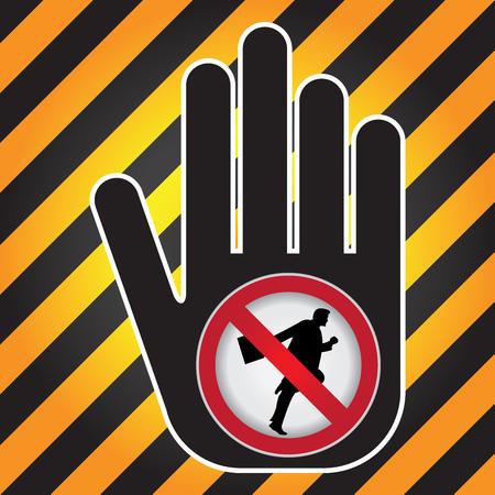 no correr: Ning�n funcionamiento Prohibido presente firma a mano con Sin Empresario Running sesi�n Dentro de Precauci�n Zona Oscura y fondo amarillo