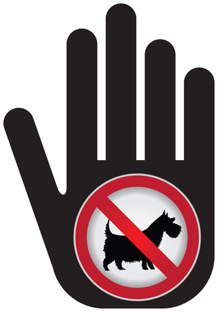 No Dogs or No Pets Allowed in This Area Prohibited Sign Present By Hand With No Dog Sign Inside Isolated on White Background photo