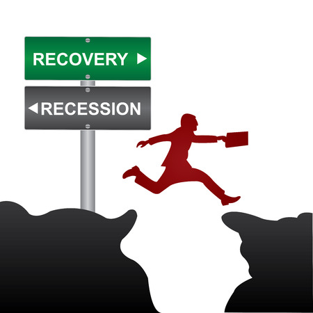 Business and Finance Concept Present By Jumping Through The Valley Gap With Green and Gray Street Sign Pointing to Recession and Recovery Isolated On White Background