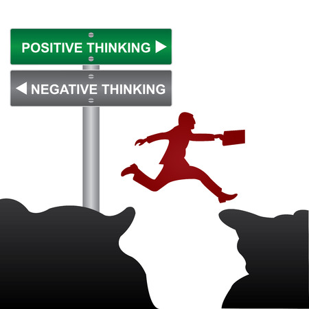 negative thinking: Business and Finance Concept Present By Jumping Through The Valley Gap With Green and Gray Street Sign Pointing to Positive Thinking and Negative Thinking Isolated On White Background Stock Photo