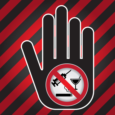 No Drug Prohibited Sign Present By Hand With No Drug Sign Inside in Caution Zone Dark and Red Background photo
