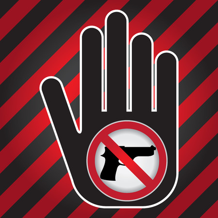 Stop Violence Or No Gun Prohibited Sign Present By Hand With No Gun Sign in Caution Zone Dark and Red Background photo