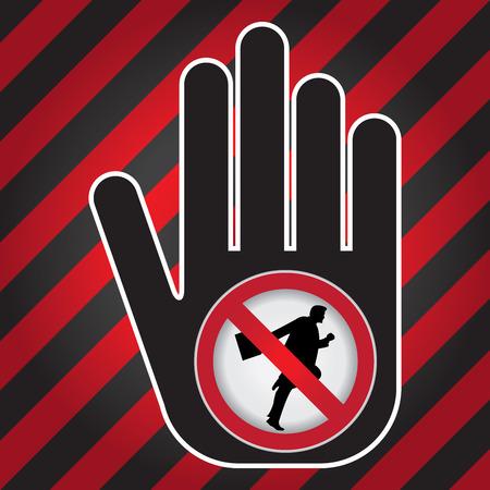 no correr: Ning�n funcionamiento Prohibido presente firma a mano con Sin Empresario Running sesi�n Dentro de Precauci�n Zona Oscura y fondo rojo