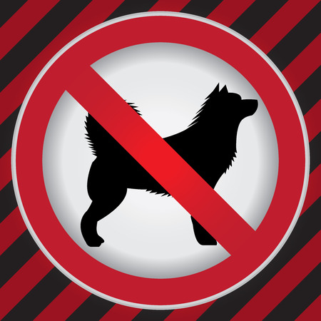 No Dog Prohibited Sign Present By  No Dog Sign Inside in Caution Zone Dark and Red Background photo