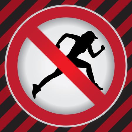 no correr: C�rculo Prohibido Entrar Para No Sport o Ninguna muestra de Rodaje Precauci�n Zona Oscura y fondo rojo Foto de archivo