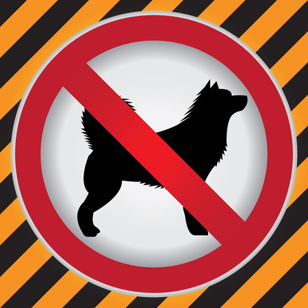 Circle Prohibited Sign For No Dog or No Animal Sign in Caution Zone Dark and Yellow Background Imagens