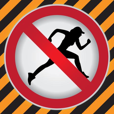 no correr: Círculo Prohibido Entrar Para No Sport o Ninguna muestra de Rodaje Precaución Zona Oscura y fondo amarillo