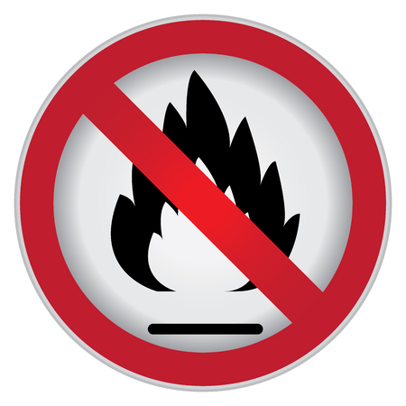 burnable: Circle Prohibited Sign For No Flammable or Non Burnable Sign Isolate on White Background