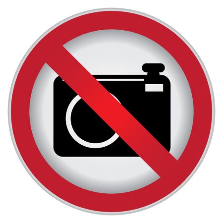 no cameras allowed: Circle Prohibited Sign For No Photo or No Camera Sign Isolate on White Background