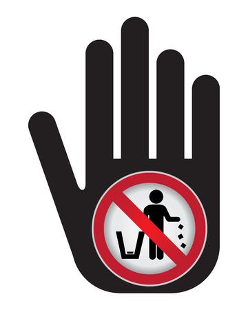 littering: No tirar basura, por favor, utilice un bote de basura o por favor evita Area Clean Concept Presente a mano con no tirar basura Entrar en el interior aislado en el fondo blanco