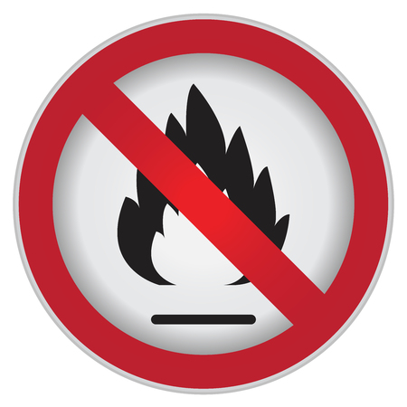 flammable: No Flammable or Non Burnable Prohibited Sign Isolated on White Background