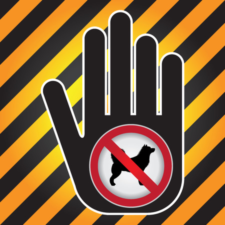 No Dog Prohibited Sign Present By Hand With No Dog Sign Inside in Caution Zone Dark and Yellow Background