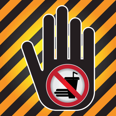 no food: No Food and Drink Prohibited Sign Present By Hand With No Food and Drink Sign Inside in Caution Zone Dark and Yellow Background