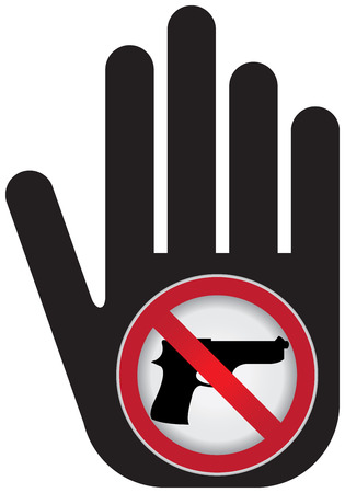 Stop Violence Or No Gun Prohibited Sign Present By Hand With No Gun Sign photo