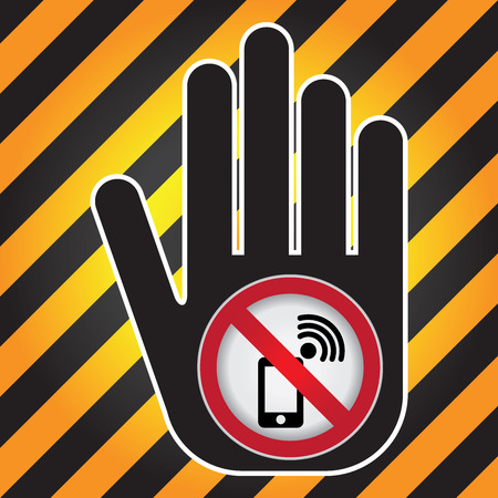 cell phones not allowed: Turn Off Your Mobile Phone or Mobile Phone Are Not Allowed Prohibited Sign Present By Hand With Mobile Phone Are Not Allowed Prohibited Sign Inside in Caution Zone Dark and Yellow Background Stock Photo