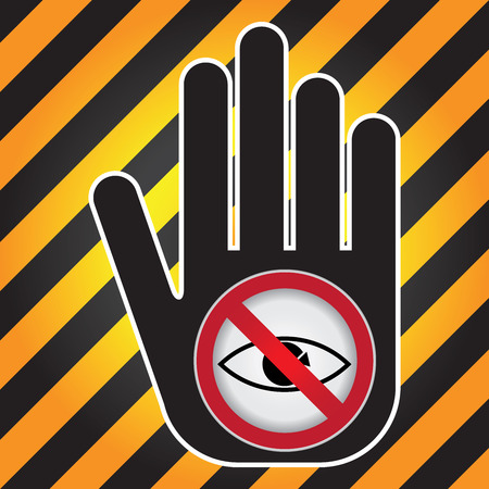 trojans: No Peeping Prohibited Sign Present By Hand With No Peeping Sign Inside in Caution Zone Dark and Yellow Background