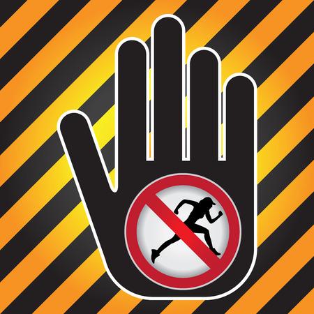 no correr: Ning�n funcionamiento Prohibido presente firma a mano con Sin Correr sesi�n Dentro de Precauci�n Zona Oscura y fondo amarillo Foto de archivo