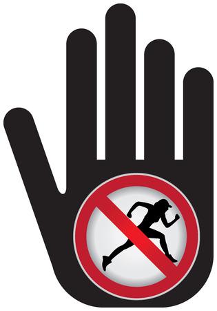 no correr: Ning�n funcionamiento Prohibido presente firma a mano con Sin Correr sesi�n interior Foto de archivo