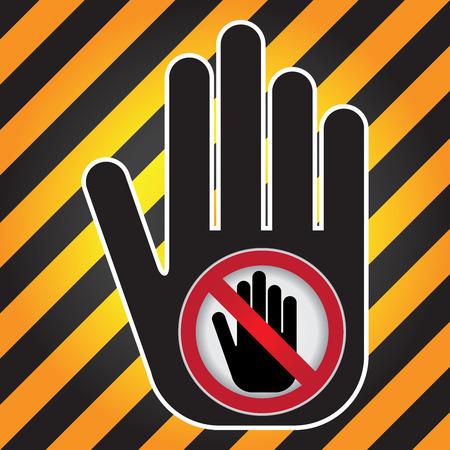 no pase: No Introduzca Prohibida presente firma a mano con No incorpore la muestra en el interior Precaución Zona Oscura y fondo amarillo