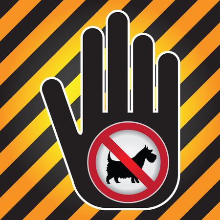 defecate: No Dogs o Animali domestici ammessi in zona Questa Prohibited presente firma a mano con No dog sign all'interno isolato su sfondo bianco