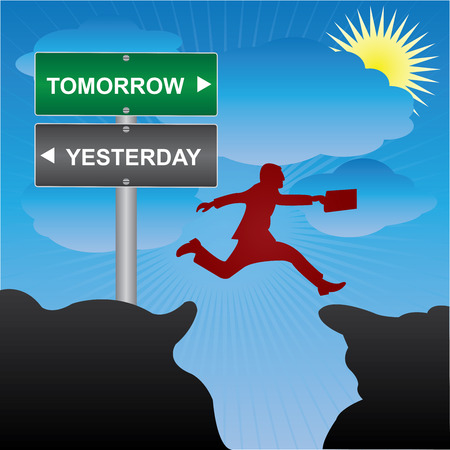 yesterday: Business and Finance Concept Present By Jumping Through The Valley Gap With Green and Gray Street Sign Pointing to Tomorrow and Yesterday in Blue Sky Background