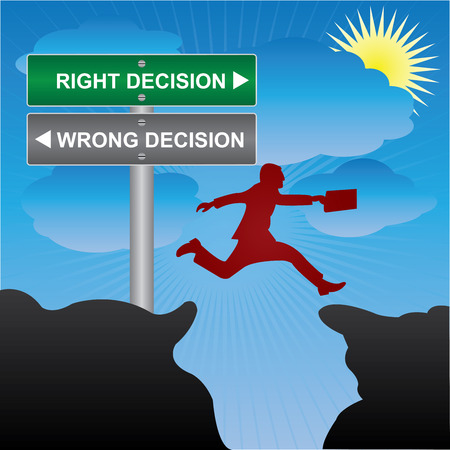 Business and Finance Concept Present By Jumping Through The Valley Gap With Green and Gray Street Sign Pointing to Right Decision and Wrong Decision in Blue Sky Background photo