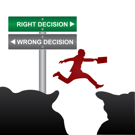 Business and Finance Concept Present By Jumping Through The Valley Gap With Green and Gray Street Sign Pointing to Right Decision and Wrong Decision photo