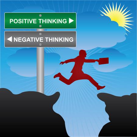 negative thinking: Affaires et des finances concept actuel en sautant � travers l'espace Vall�e de vert et de la rue Gray panneau indiquant la pens�e positive et la pens�e n�gative en fond de ciel bleu