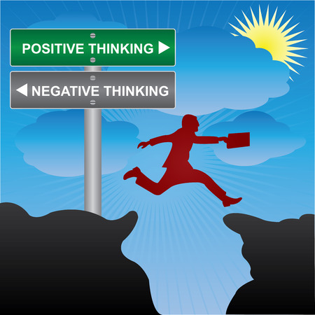 positivity: Business and Finance Concept Present By Jumping Through The Valley Gap With Green and Gray Street Sign Pointing to Positive Thinking and Negative Thinking in Blue Sky Background Stock Photo