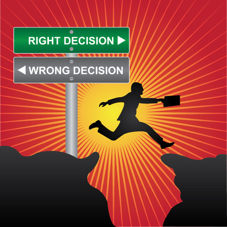 Business and Finance Concept Present By Jumping Through The Valley Gap With Green and Gray Street Sign Pointing to Right Decision and Wrong Decision in Red Shiny Background photo