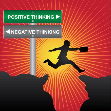negative thinking: Affaires et des finances concept actuel en sautant � travers l'espace Vall�e de vert et de la rue Gray panneau indiquant la pens�e positive et la pens�e n�gative en arri�re-plan rouge brillant