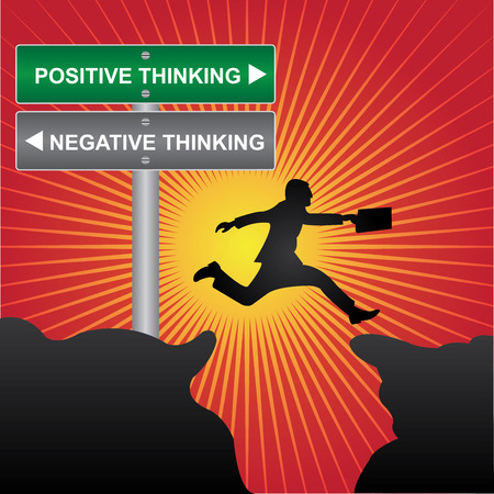 negative thinking: Business and Finance Concept Present By Jumping Through The Valley Gap With Green and Gray Street Sign Pointing to Positive Thinking and Negative Thinking in Red Shiny Background
