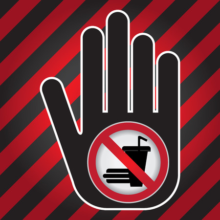 no food: No Food and Drink Prohibited Sign Present By Hand With No Food and Drink Sign Inside in Caution Zone Dark and Red Background Stock Photo