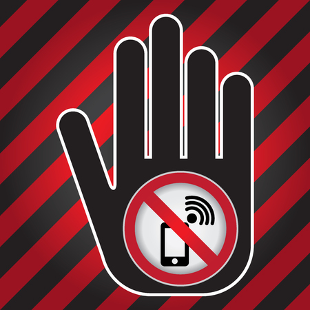 use regulations: Turn Off Your Mobile Phone or Mobile Phone Are Not Allowed Prohibited Sign Present By Hand With Mobile Phone Are Not Allowed Prohibited Sign Inside in Caution Zone Dark and Red Background