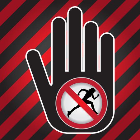 no correr: Ningún funcionamiento Prohibido presente firma a mano con Sin Correr sesión Dentro de Precaución Zona Oscura y fondo rojo