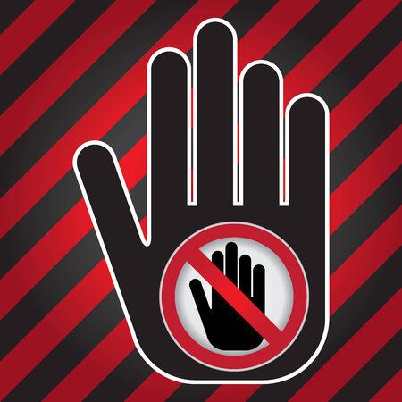 no pase: No Introduzca Prohibida presente firma a mano con No incorpore la muestra en el interior Precaución Zona Oscura y fondo rojo