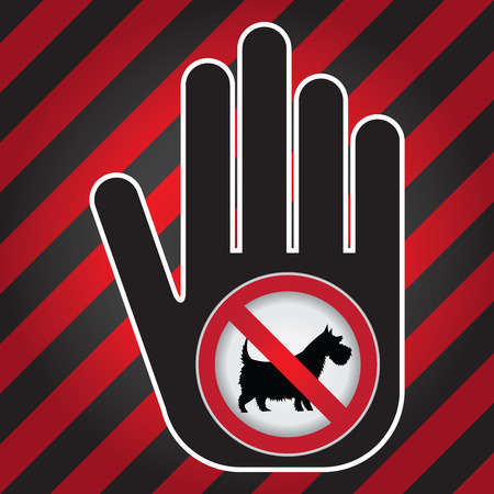 No Dogs or No Pets Allowed in This Area Prohibited Sign Present By Hand With No Dog Sign Inside in Caution Zone Dark and Red Background photo