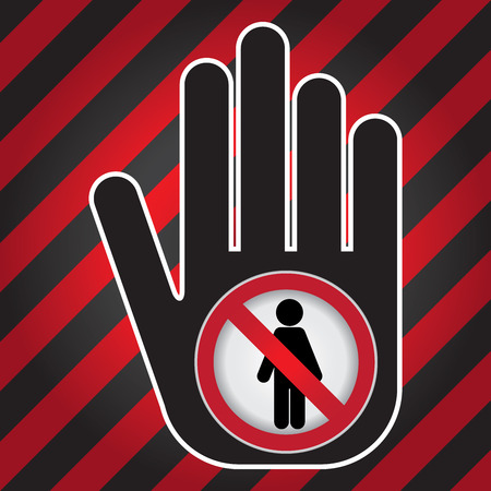 disallow: Member Only or No Enter Prohibited Sign Present By Hand With No Enter Sign Inside in Caution Zone Dark and Red Background