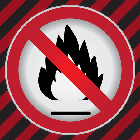 Circle Prohibited Sign For No Flammable or Non Burnable Sign in Caution Zone Dark and Red Background photo