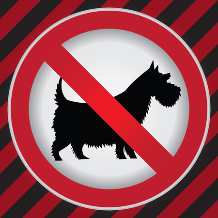 Circle Prohibited Sign For No Dogs or No Pets Allowed in This Area Sign in Caution Zone Dark and Red Background photo