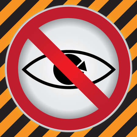trojans: Circle Prohibited Sign For No Peeping Sign in Caution Zone Dark and Yellow Background Stock Photo
